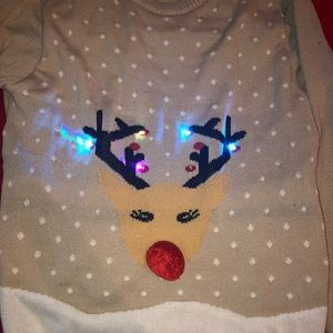 Other - LED light up reindeer ugly Christmas sweater